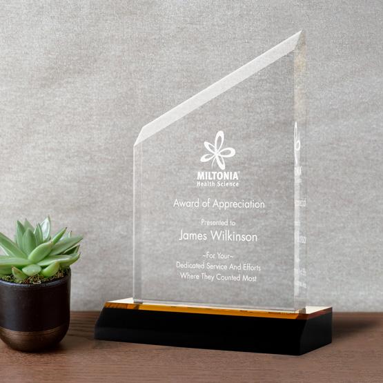Acrylic Award - Gold Beveled Peak