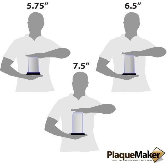 Acrylic Award - Blue Corners Size Guide