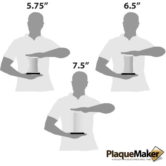 Acrylic Award - Silver Corners Size Guide