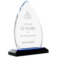 Blue acrylic crest award
