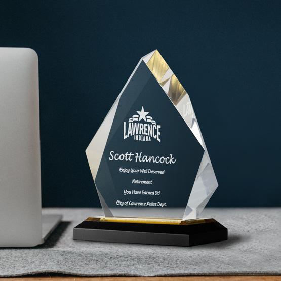 Acrylic Award - Gold Diamond
