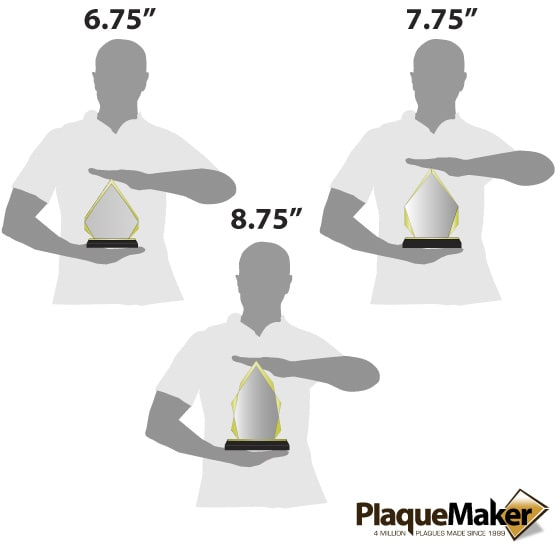 Acrylic Award - Gold Diamond Size Guide
