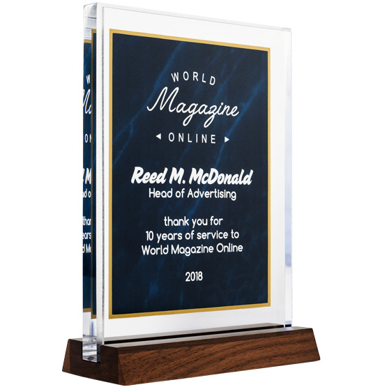 Blue Marble Standing Acrylic Award