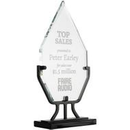 crystal diamond award on iron stand