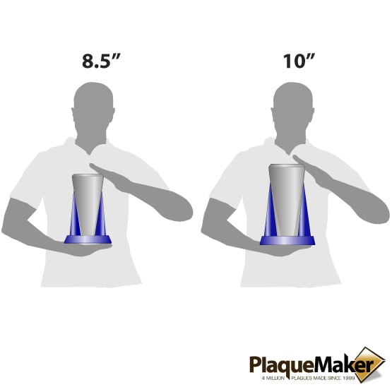 glass wedge award size guide