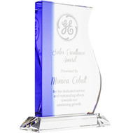 Blue Edged Wave Crystal Award