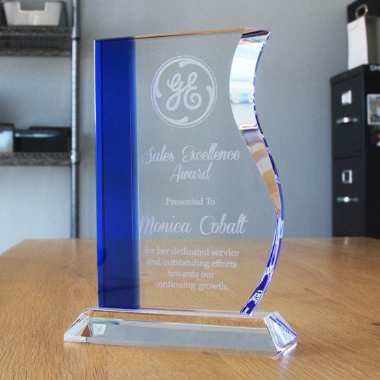 Blue Edged Wave Crystal Award