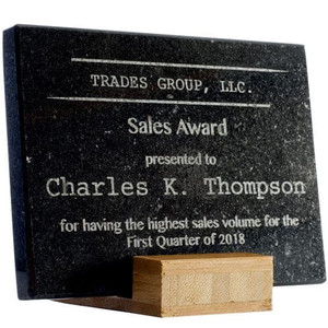 Laser Engraved Granite Award with Bamboo Stand