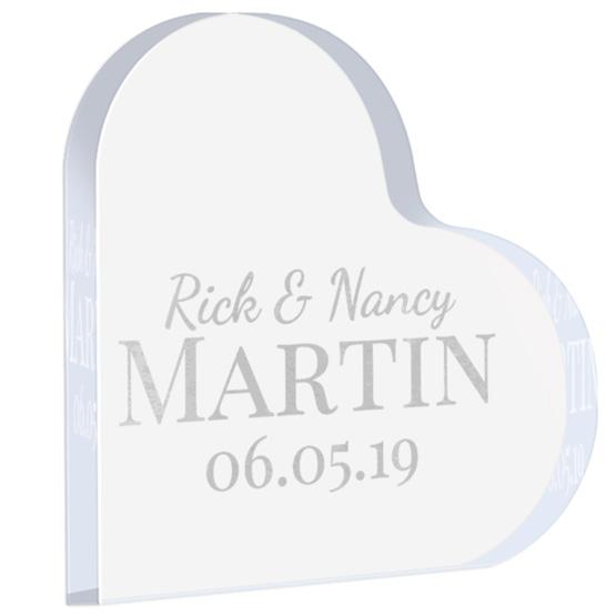 Couple Name Acrylic Heart Keepsake