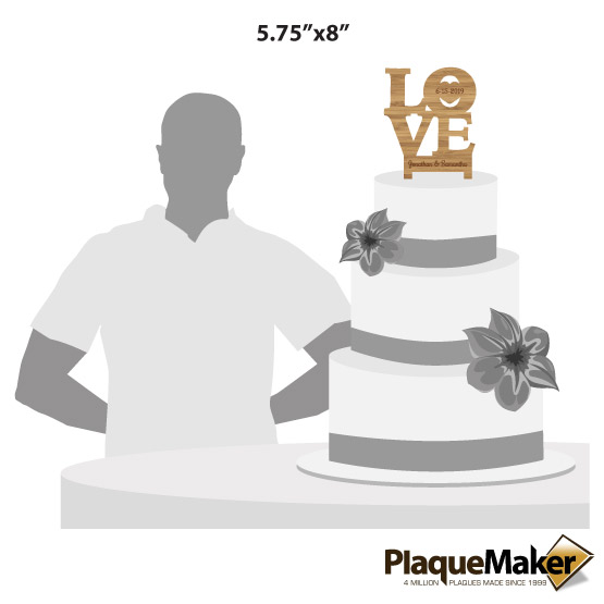 Love Bamboo Cake Toppers Sizes