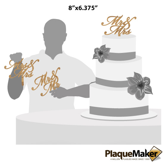 Mr and Mrs Bamboo Cake Toppers Size