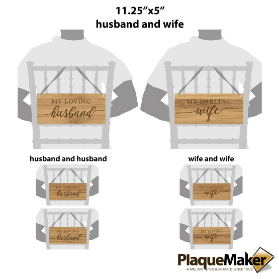 Husband and Wife Chair Sign Sizes