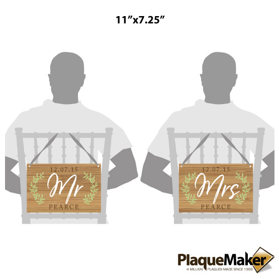 Mr. and Mrs. Chair Sign Size Guide