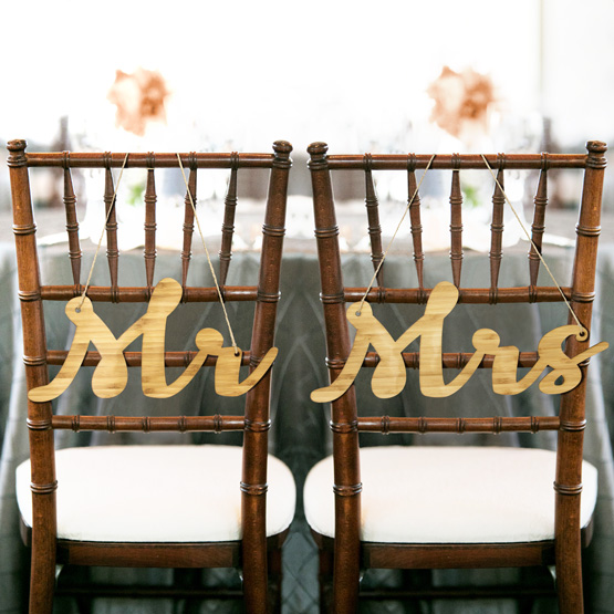 Mr and Mrs Cutout Chair Sign