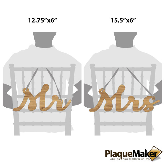 Mr and Mrs Cutout Chair Sign Sizes