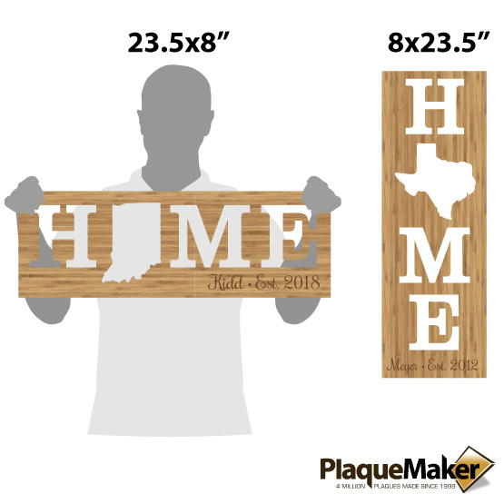 Home Cutout State Sign Size Chart