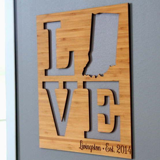 Love Cutout State Sign