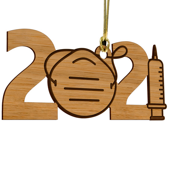 Mask and Vaccine 2021 Ornament