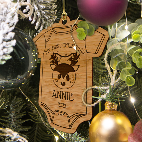 Baby Onsie Bamboo Ornament