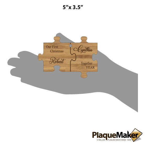 Puzzle Shaped Bamboo Ornament Sizes
