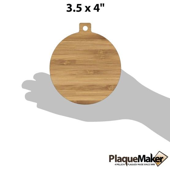 Custom Cut Bamboo Wood Ornaments Size Guide