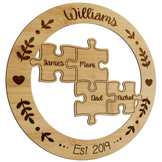 Family Puzzle Bamboo Sign