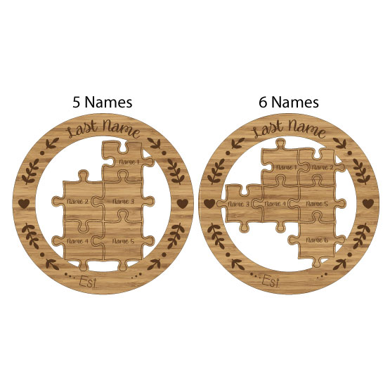 Family Puzzle Bamboo Sign Layout