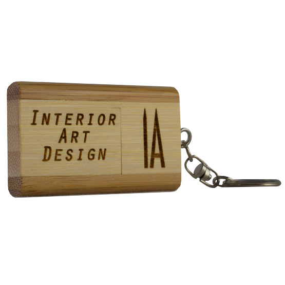bamboo usb flash drive keychain