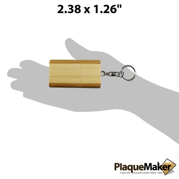 bamboo usb flash drive keychain size guide