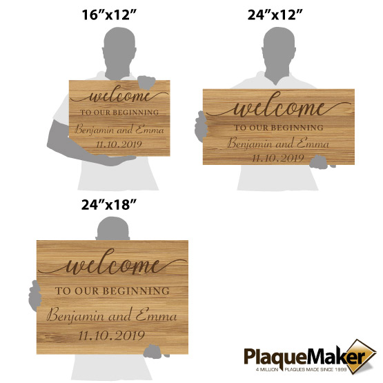Bamboo Welcome Wedding Sign Sizes