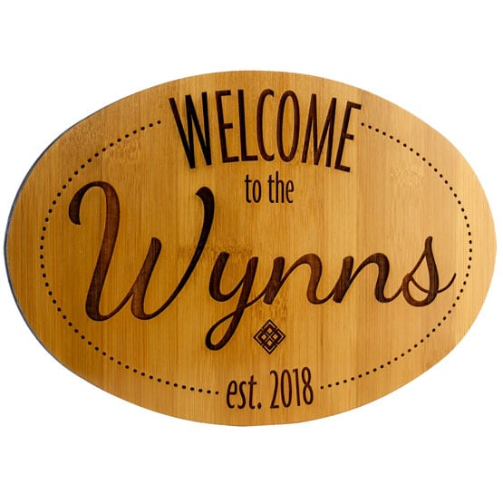 """Personalized Welcome Signs - Bamboo Wood - 12"""" x 8"""""""