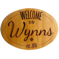 "Personalized Welcome Signs - Bamboo Wood - 12"" x 8"""