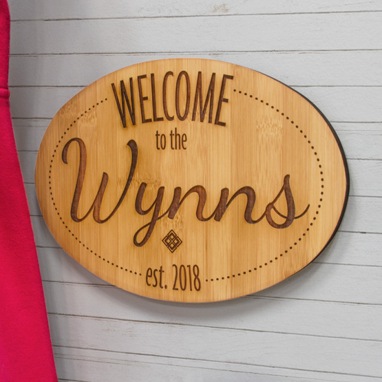 """12""""x8"""" Oval Bamboo Welcome Signs"""