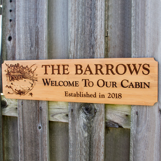 Welcome to Our Cabin bamboo sign