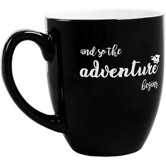 Adventure Begins Black Mug