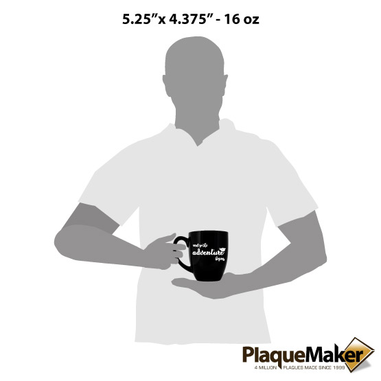 Adventure Begins Black Mug Size