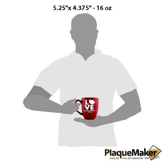 Heart Love Red Bistro Mug Sizes
