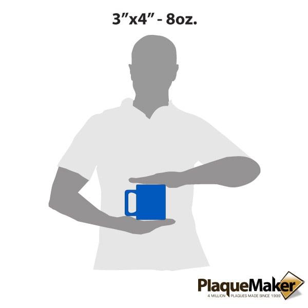 Custom Blue Coffee Mugs - 8 oz. Size Guide