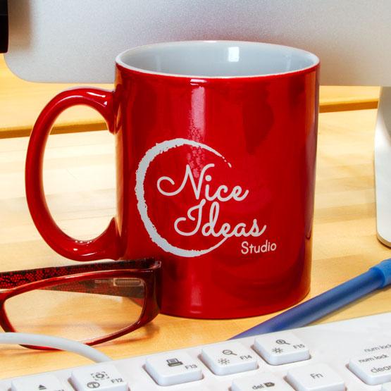 Red Ceramic Round Mug