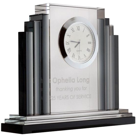 crystal art deco clock
