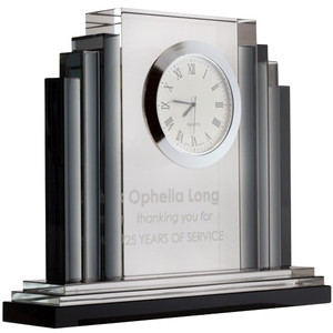 Engraved Clocks - Art Deco Crystal