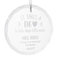 Big Heart Teacher Glass Ornament