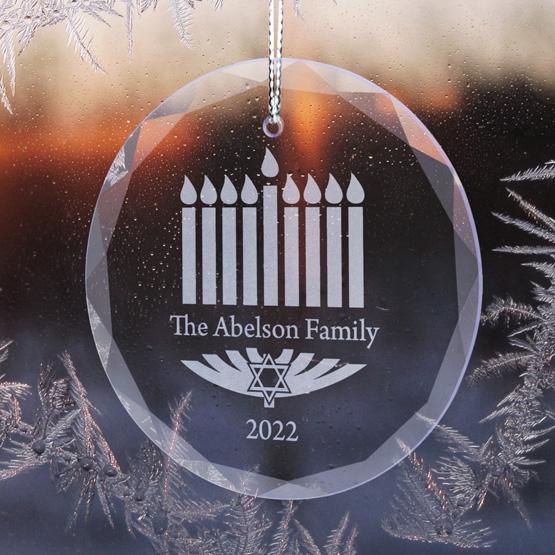 Hanukkah Family Glass Ornament