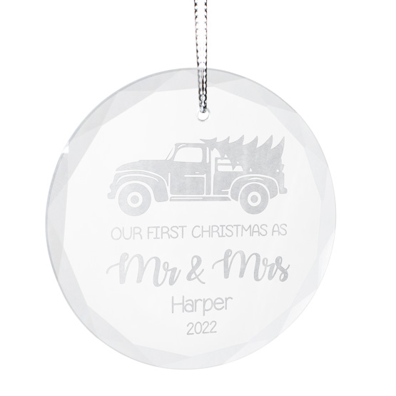 Mr and Mrs Faceted Glass Ornament