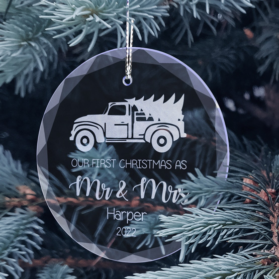 Mr and Mrs Glass Ornament Sizes