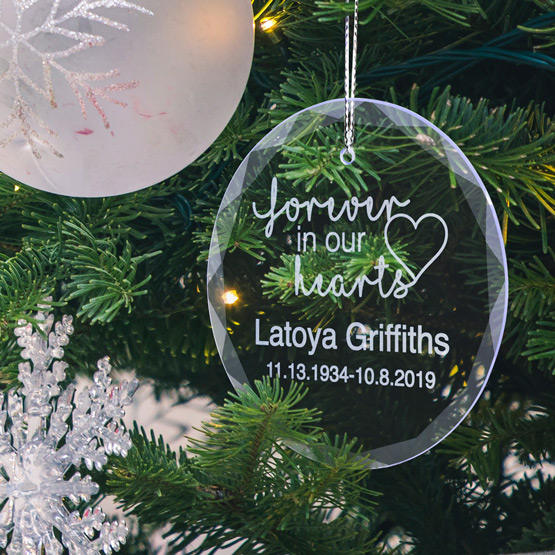 Memorial Faceted Glass Ornament