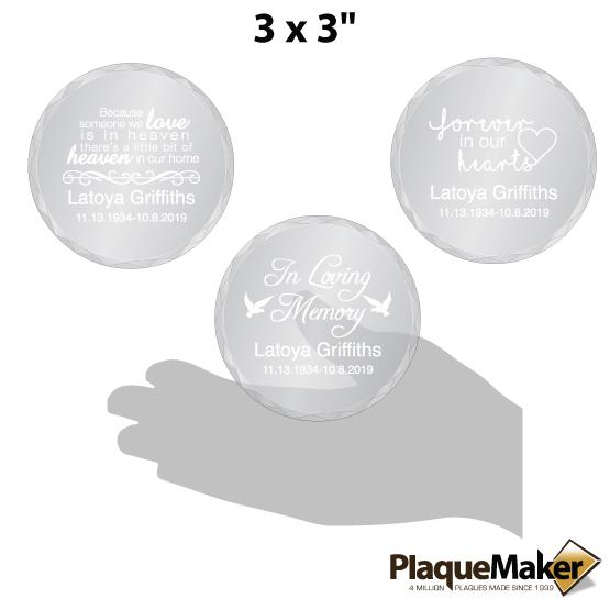 Memorial Glass Ornament Size