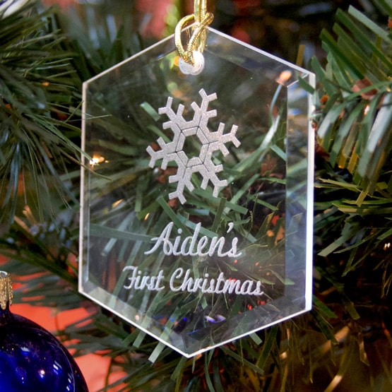 Personalized Christmas Ornament - Hexagon Crystal
