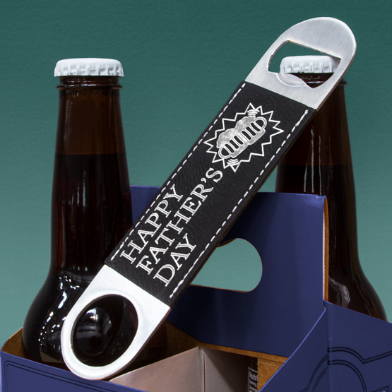 "7"" Faux Leather Black Bottle Opener"
