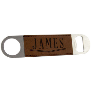 "7"" Dark Brown Leather Bottle Opener"